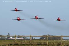 8755 Enid 4-ship takeoff R1 R2 R3 R4 (photozone72) Tags: raf rafat redarrows reds redwhiteblue hawk scampton lincolnshire aviation aircraft jets canon canon7dmk2 canon100400f4556lii 7dmk2