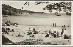 Postkort fra Agder (Avtrykket) Tags: strand badende båt motorbåt postkort strandliv grimstad austagder norway nor