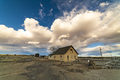 Thatcher House. (Tom Herlyck) Tags: abandoned beautiful colorado decaying easterncolorado flickr greatamericandesert highplains jazzed light neglected outdoors prairie ranch sky usa vintage weather yellow amazing blue clouds digital exposure fall grass house landscape natural old southeastcolorado thatcher view winter america bigsky cloudy lasanimascounty santafetrail decay homestead o
