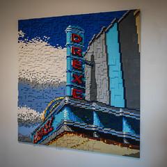 LEGO Drexel (tim.perdue) Tags: lego think outside brick 2018 columbus museum art cma cmoa ohio exhibition gallery panasonic gx7 lumix 1232mm toy build minifig scene vignette diorama display drexel theater neon sign