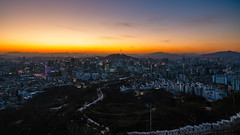 Sunrise scene of Seoul downtown city skyline (MongkolChuewong) Tags: aerial aerialview architecture asia asian attraction building business cable car city cityscape destination district downtown famous financial fortress hiking hill inwangsan inwansan korea korean landmark landscape lotte metropolis mountain n namsan night office panorama park place point seoul sky skyline south sunrise sunset tower town travel trekking urban view wall