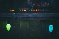 Before the Light Goes Out (matthewkaz) Tags: christmaslights lights christmas holiday holidays fence bokeh colors blue green oldschool home house burcham eastlansing michigan 2018