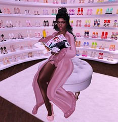 Morning News (Serena Reins) Tags: confession photography second life secondlife pose poses shoe lover dressing room closet morning news reign lingerie garbaggio backdrop slink hourglass foxcity decor magazine mamosa