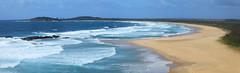 Point Plomer Panorama (Darren Schiller) Tags: panorama beach ocean surf waves newsouthwales pointplomer coast sea sand australia