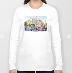 La Pedrera Barcelona Long Sleeve T-shirt (marianv2014) Tags: lapedrera barcelona casamila gaudi building cities thequarry citysymbols travel touristattractions watercolor watercolour watercolorpainting aquarelle trees cars lightblue green lightbrown fineart artgifts affordableart illustration artwork art outdoors beautiful tourism scenery city view europe european contemporary landmark charming long sleeve tshirts