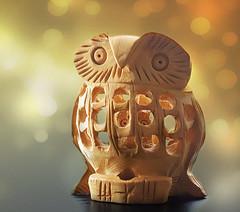 Whoooo, whoooo, whoooo are you? (Through Serena's Lens) Tags: macromondays vowel owl figurine wood bokeh tabletop stilllife macro canoneos6dmarkii