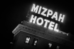 Tonopah Nights (atenpo) Tags: nevada nv us95 desert mojave abandoned gasoline station motel buildings black white tonopah roadtrip mizpah hotel historic paranormal haunted marquee lights sign night