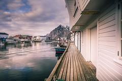 On the wharf (Sizun Eye) Tags: island harbor henningsvær norway wharf wood wooden boats fishing mountain reflections sizuneye nikond750 tamron2470mmf28 2470mm tamron nikon lofoten