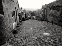 Gold Hill Shaftsbury - Hovis anyone? (Gerry Hat Trick) Tags: blackandwhite blacknwhite black white street hovis advert gold shaftsbury newforest oldfashioned cobbles cobbled hill steep shaftsebury epm1 olympus pen micro four thirds lumix 14mm pancake lens historymystery mono cottages bw