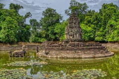 Neak Pean temple ruins in Angkor Archeological Park near Siem Reap, Cambodia (UweBKK (α 77 on )) Tags: angkor archeological park archeology ancient history historical temple ruins siem reap cambodia southeast asia sony alpha 77 slt dslr neak pean water basin pond pool tree reflection