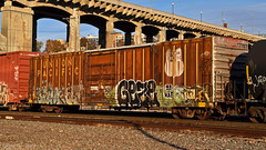 """UP Boxcar No. 465376 in Kansas City, MO (""""Righteous"""" Grant G.) Tags: union pacific up boxcar box car rolling stock freight train trains railroad railway"""