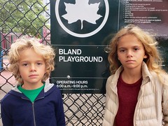 Kids At The Bland Playground (Joe Shlabotnik) Tags: galaxys9 playground violet bland queens everett october2018 sign flushing 2018 cameraphone