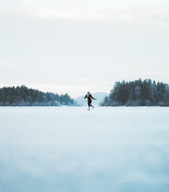 Ice Skating on a frozen lake