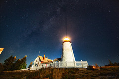 Milky Way Over Pemaquid (10iggie) Tags: pemaquid lighthouse night milkyway stars lights maine colors sky