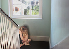 *** (HattieGrace) Tags: girl portrait window inside stairs light flare grain