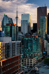 Vertical City (Brady Baker) Tags: canada toronto ontario city cityscape skyline buildings towers office residential dense density urban glass cntower dusk summer richmond built structure architecture geometry vertical tall skyscraper