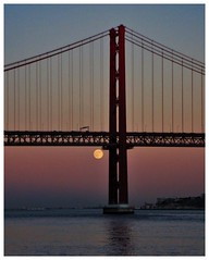 the opposite of today (Claudia1967) Tags: moon bridge lisbon under dusk summer opposite full new throwback ponte25deabril tagus tejo belem