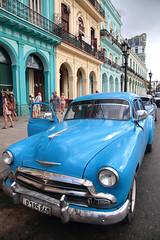 Blue Chevy (peterkelly) Tags: digital northamerica cubalibre cuba gadventures canon 6d havana paseodemarti blue car oldcar street road sidewalk door open ajar chevy chevrolet auto automobile