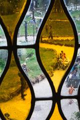 da dietro i vetri della casina delle civette (duegnazio) Tags: italia lazio roma canon40d vetro glass giallo yellow villatorlonia casinadellecivette finestra window italy rome