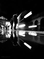 Dark and rainy reflection - South Ken (Luke Agbaimoni (last rounds)) Tags: london londonunderground londontube train transportforlondon trains blackandwhite monochrome streetphotography