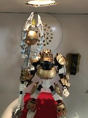 Takanuva Returns. part 8 (ArmoredToa) Tags: lego bionicle toa takanuva light knight reborn repaint revamp moc gold white armor kanohi weapon trident staff
