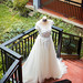 Wide shot of bridal gown