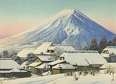 Hasui Kawase – The Art Institute of Chicago 1990.607.351. Clearing after a Snowfall, Yoshida (1944) (lack of imagination) Tags: 7001000 artinstituteofchicago blog hasuikawase houses landscape mountain people trees village