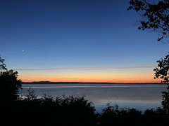 Crescent Moon. www.jessica365.com (Jessica Brookes-Parkhill) Tags: vermont burlingtonvt crescentmoon jessica365 lake sunset favoriteplaces starrfarm starrfarmbeach lakechamplain