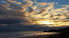 Cresswell Beach - Sunrise Panorama (Gilli8888) Tags: cameraphone samsung s7 northeast northumberland nature cresswell cresswellbeach shoreline northsea sea water sunrise sky clouds beach sand rocks