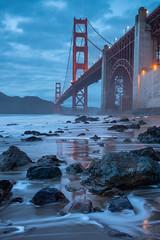 Golden Gate Blue Hour (Matt McLean) Tags: architecture bayarea beach bluehour bridge california coast goldengate rocks sanfrancisco shore