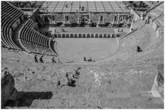Roman Amphitheatre. Amman, Jordan-4 (nickyt739) Tags: roman amphitheatre ruins tourist explore amman jordan middle east levant history capital city steps architecture stone old amateur nikon dslr d5100 black white bw noir monochrome