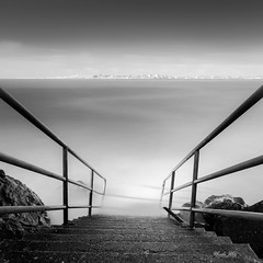 "Path to The ""Paradise"" (Masako Metz) Tags: ocean sea water kingtide waldport oregon coast pacific northwest blackandwhite monochrome landscape seascape longexposure stairs steps hightide access square format nature rocks driftwood shadow"