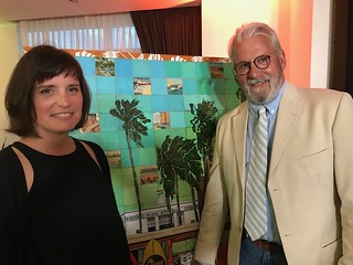 Artists Melissa Mastrangelo and her husband Horacio Lertora at the unveiling of their artwork for the 2019 Coconut Grove Arts Festival poster.
