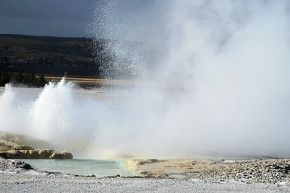 A view of eruptions of Clepsydra and Spasm Geysers from a distance of 150 yards (approx.) on Fountain Paint...