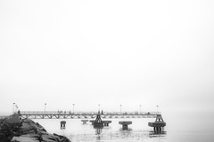 Pier Black and White (adamopal) Tags: canon canon5d canon5dmkiii canon5dmarkiii pier beach beachwalk greatlake lakreriecityofcleveland cleveland clevelandohio ohio outside lakewalk walkabout grainy monochrome blackandwhite blackwhite black white
