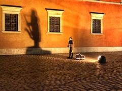 A little night music (halifaxlight) Tags: poland warsaw oldtown castle busker musician sax shadow windows cobblestones music night ochre saxophone musiccase spotlight