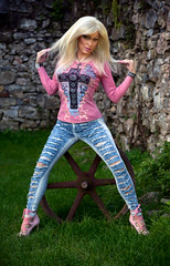 Pink top and blue jeans (Juliapanther Over 63 million views, thanks!!!) Tags: tgirl tg julia panther juliapanther posing jeans pink top high heels model denim tight blond hoops nails legs long portrait makeup barbie blonde lips makeover pinup diva true colors artistry amanda richards modeling heel beauty mac lipstick highheels