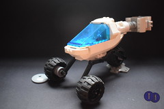 Futuron Supply Rover (Harding Co.) Tags: lego space scifi classic future futuron rover buggy supply station track tracking remote antenna science scene scientist minifigure minifigures lunar exploration white blue grey black base research