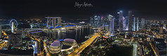 Panoramic Aerial view of night scene at Marina Bay Singapore (MEzairi) Tags: aerial apartment architecture background bay beautiful beginning blue building business centre city cityscape cloudscape cloudy condominium day highway hour landscape life lrt majesticnature malaysia marina new office resident sea singapore sky skyline skyscraper start station sunrays sunrise sunset town train travel twilight urban view