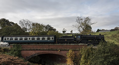 Loco 76084 (davidhollingworth764636) Tags: landscape northyorkshiremoors railway railwaybridge steamlocomotive carriages fields trees autumncolours
