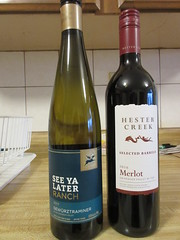 Her's and his (jamica1) Tags: wine bottles white red see ya later gewurztraminer hester creek okanagan bc british columbia canada merlot