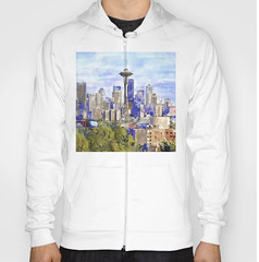 Seattle View in watercolor Hoody (marianv2014) Tags: seattle usa american america washington downtownseattle spaceneedle travel attractions watercolour aquarelle affordablegifts artgifts art skyscrapers tallbuildings watercolor skyline cities fineart urbanlandscape green purple blue illustration artwork outdoors beautiful tourism scenery city view contemporary landmark charming hoodies