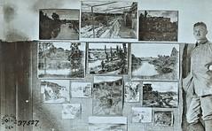 German artist beside examples of his wartime sketches  German negative ca1914 NARA111-SC-37527-ac (over 14 MILLION views Thanks) Tags: germanarmy ww1 worldwari france 19141918