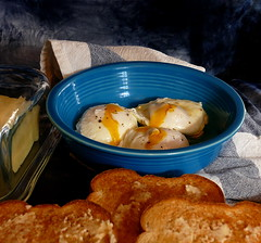 Soft Poached Eggs in the morning sun (Eat With Your Eyez) Tags: soft poached eggs morning sun sunshine natural light fiestaware toast butter bread breakfast cooking plating food photography foodporn styling panasonic fz1000