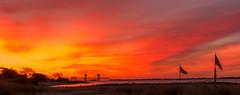 Blood Sunrise on Plumb Island (IronBokeh) Tags: blood red sunrise dawn bridge dramatic sky clouds ocean water beach plumbbeach plumbisland brooklyn ny nyc newyork newyorkcity landscape