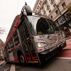 On the road to the road, the double benefit of the depositor moved to different lands, (bhautik_joshi) Tags: sf sanfrancisco marketstreet bus munibus california unitedstates us
