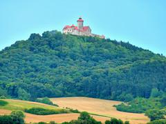 P1050526 Wachsenburg, Drei Gleichen, Germany 14th August 2011 (pauldominicgray) Tags: blurred mediumquality wachsenburg dreigleichen germany summer rian castle woodland hill field