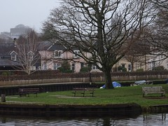 Mizzly, drizzly morning (Phil Gayton) Tags: water grass tree bench building sky rain boat stmarys church tower castle vire island river dart totnes devon uk