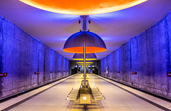Blue Monday (DobingDesign) Tags: westfriedhof ubahn munich münchen deutschland germany transport underground travel lighting station tube undergroundstation colours blue yellow platform red seating colourful interiorarchitecture lines perspective symmetry symmetrical lamps lights architecture walls ceiling texture