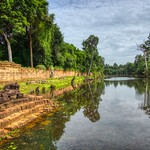 Moat surrounding the temple ruins of Preah Khan in Angkor Archeological Park near Siem Reap, Cambodia thumbnail